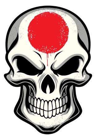 頭蓋骨に描かれた日本の旗