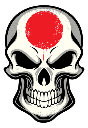 Japan flag painted on the skull Ilustração