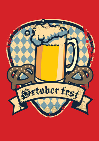 Oktoberfest with a glass of beer Illustration