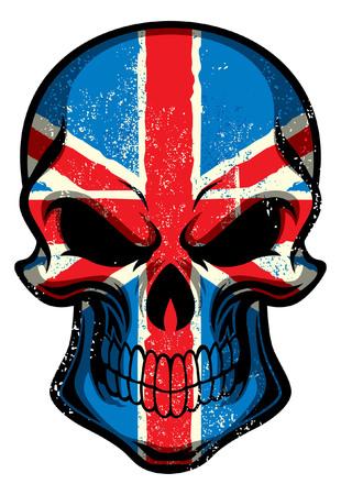 Britain flag painted on the skull Illustration