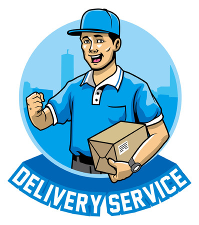 Delivery man hold the package Illustration