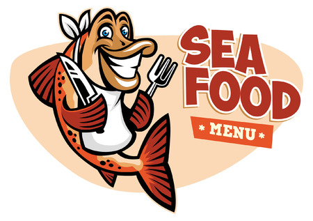 Happy cheerful fish with fork and knife Illustration