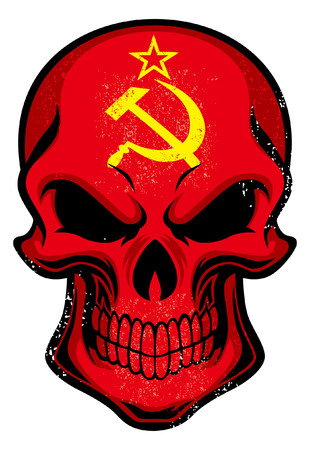 Soviet Union flag painted on the skull