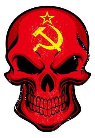 Soviet Union flag painted on the skull