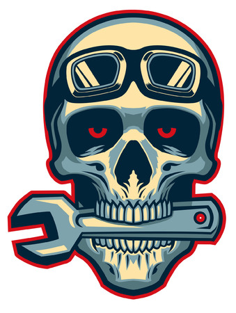 Skull with wrench on the bite