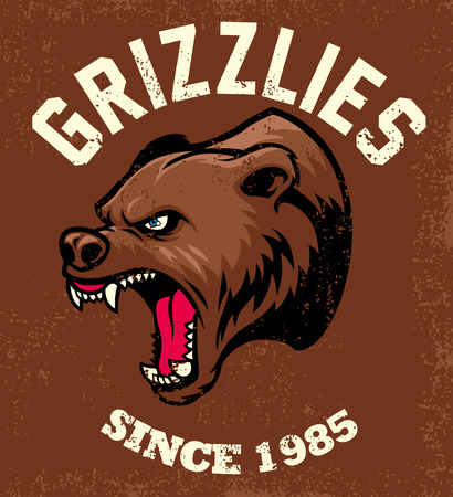 Roaring grizzly with textured