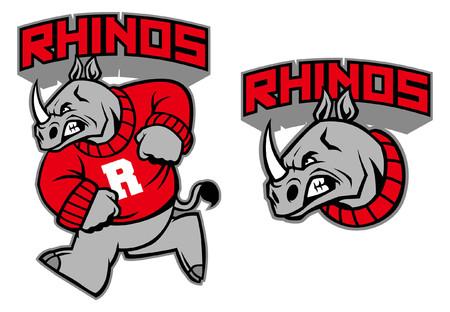 Mascotte di rinoceronti sportivi nel set Archivio Fotografico - 95618829