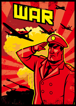 War poster with saluting soldier
