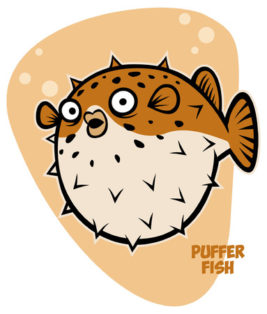 fugu fish in character  style Illustration