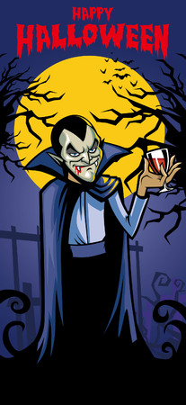 halloween greeting card with vampire character inside