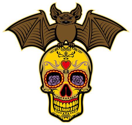sugar skull with bat