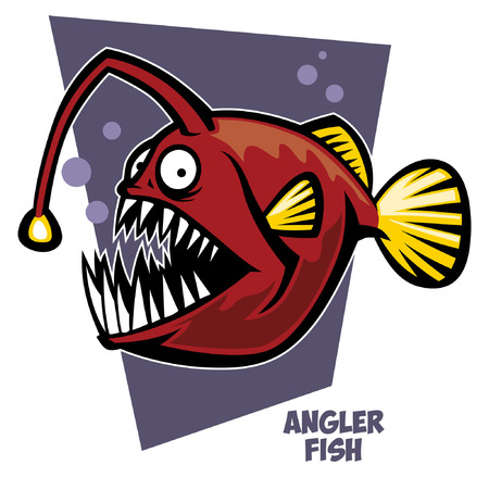 낚시꾼 물고기의 만화 일러스트