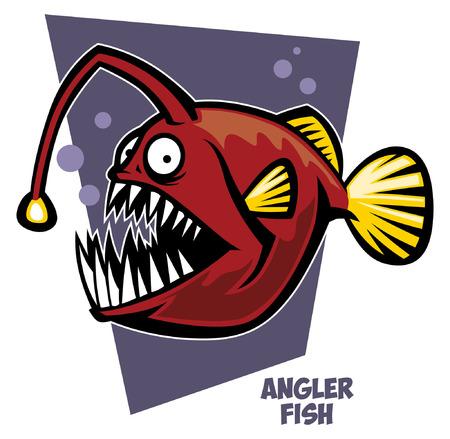 cartoon of angler fish Illustration