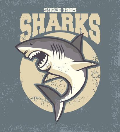 shark mascot in vintage textured poster 版權商用圖片 - 96132598