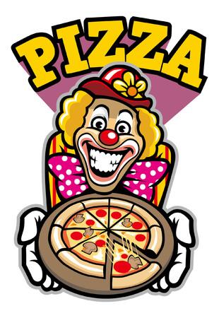 clown presenting the pizza