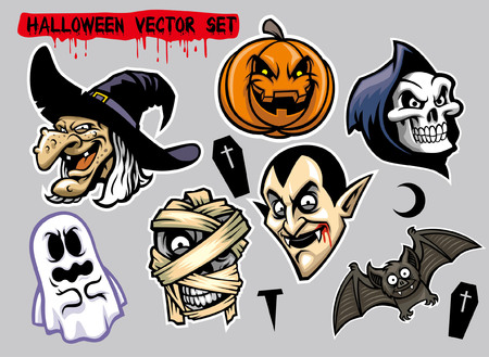 halloween character head set 向量圖像