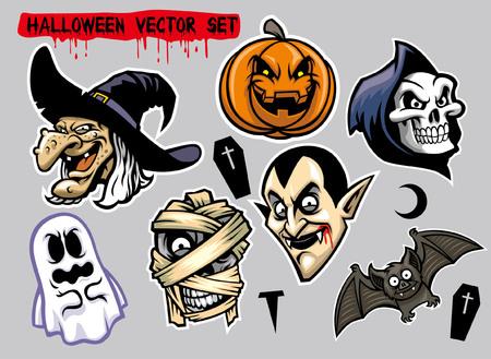 halloween tekenset hoofd Stock Illustratie