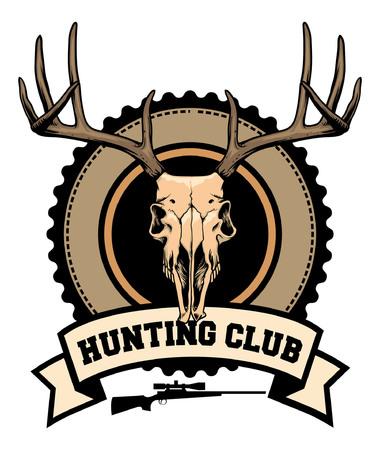 鹿の頭蓋骨で狩猟のバッジ  イラスト・ベクター素材