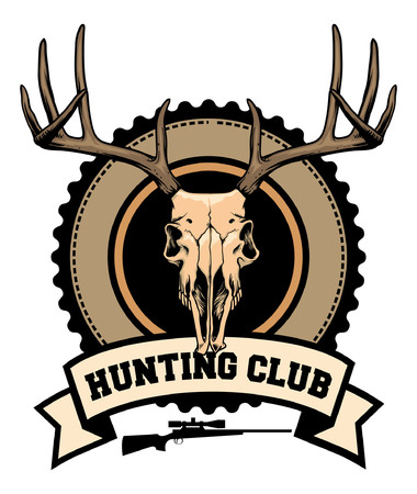 badge of hunting with deer skull Çizim
