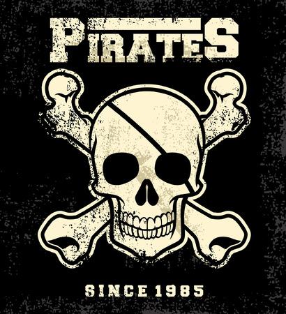 pirate skull head with crossed bones