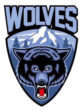 wolf head mascot Illusztráció