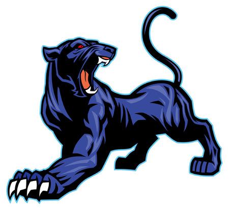 roaring black panther mascot