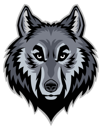 head of wolf mascot Illustration