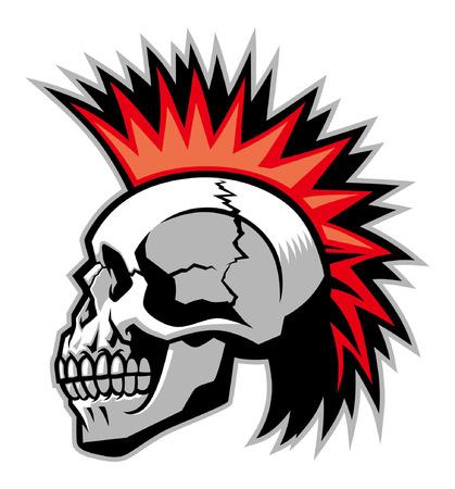 skull punk head 向量圖像