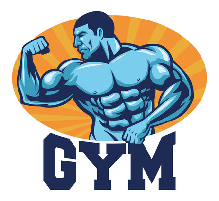 bodybuilder show his body 일러스트