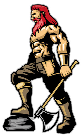 viking with muscle body hold the axe