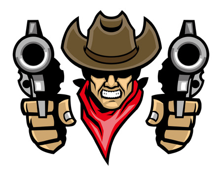 cowboy mascot aiming the guns Vettoriali