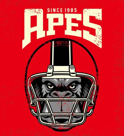 gorilla head wearing football helmet