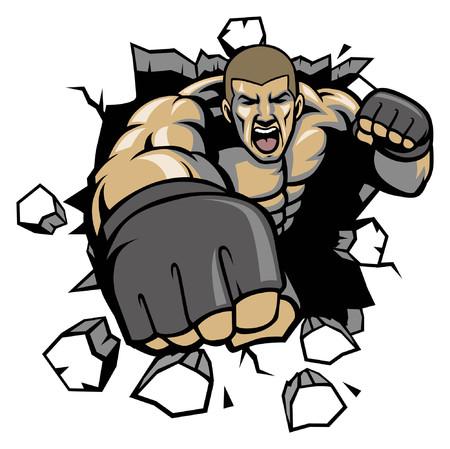 Luchador de MMA lanzando puñetazos para romper la pared