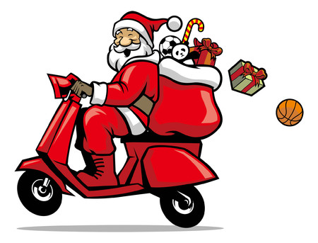 happy santa claus design riding the scooter Ilustração
