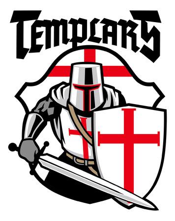 conception de mascotte de chevalier templier Vecteurs
