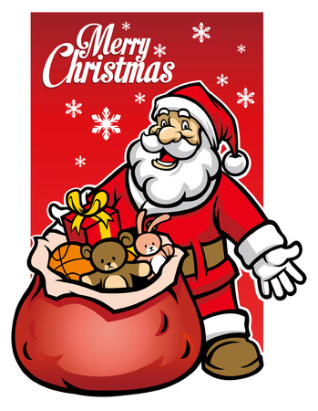 santa claus greeting christmas and show the presents