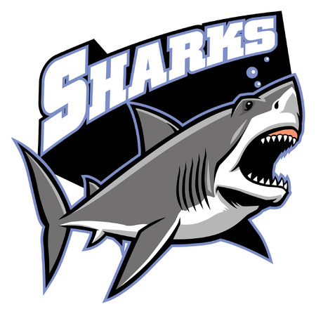 great white shark mascot design Ilustrace