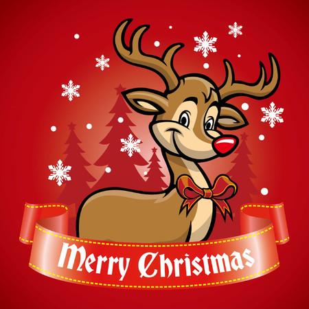 happy cute deer greeting merry christmas