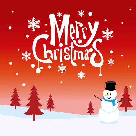christmas greeting design with snowman Illustration