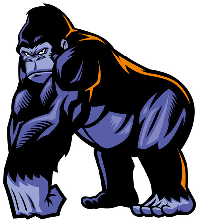 big gorilla mascot with muscle giant body Çizim