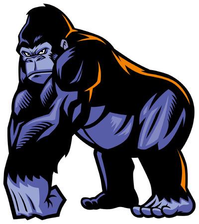mascotte de grand gorille au corps géant musculaire