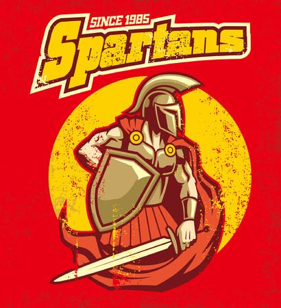 sparta warrior design in a retro vintage design  イラスト・ベクター素材