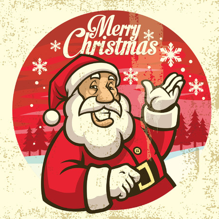 happy santa claus greeting christmas Иллюстрация