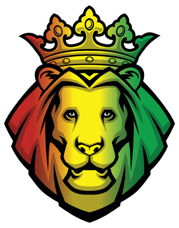 lion wearing crown in rasta coloration