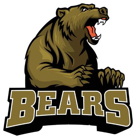 angry roaring bear mascot style