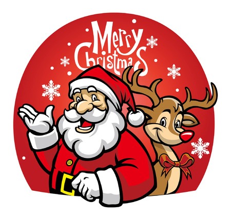 cartoon of santa claus and the deer