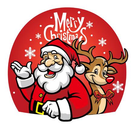 cartoon of santa claus and the deer