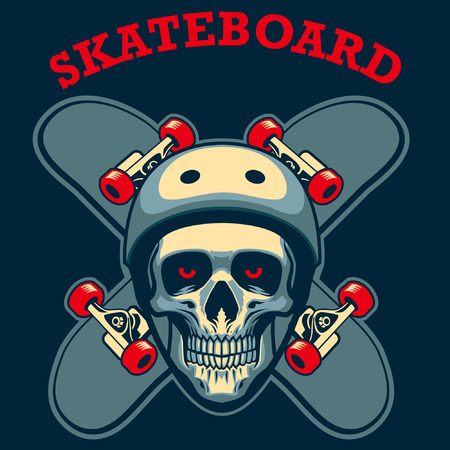 skull wearing helmet with crossed skateboard