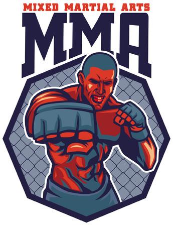 MMA fighter badge design Illustration
