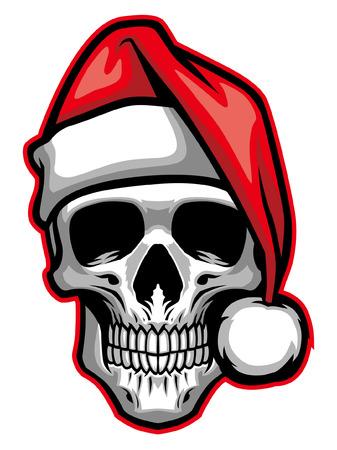 teschio che indossa il cappello di Babbo Natale Vettoriali